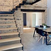 escalier intérieur bois et métal à quart tournant