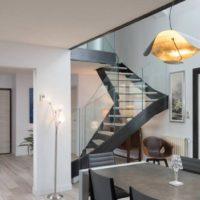 escalier design à quart tournant métal et bois par calade design