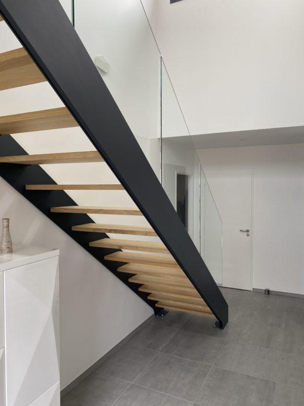 escalier droit métallique bois