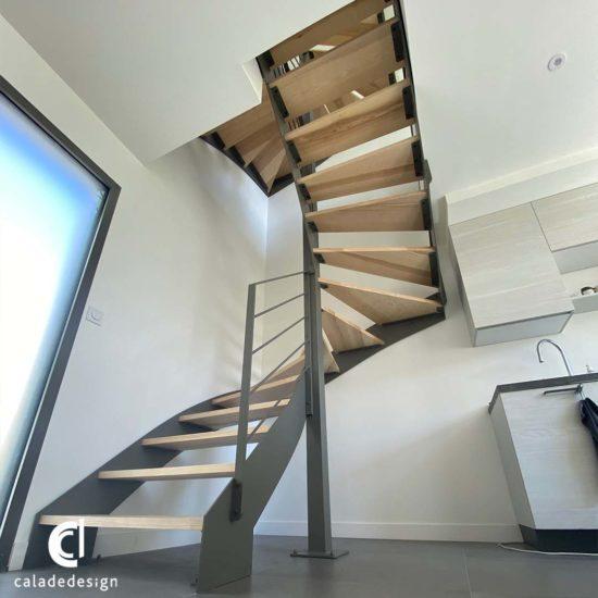 escalier double limon métal bois