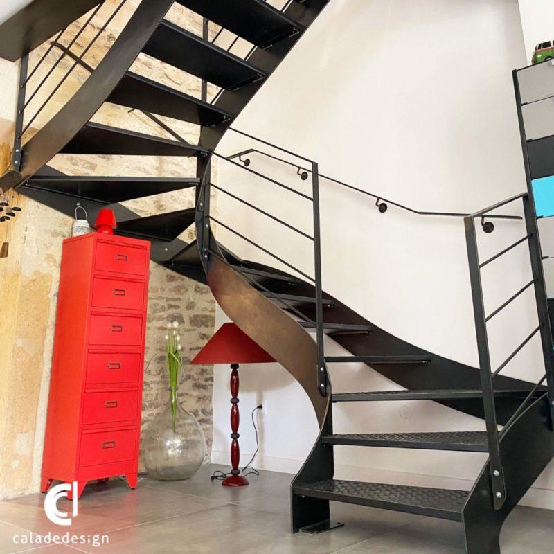 escalier métallique double limon deux étages